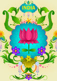 Floral background with Lotus flower showing Incredible India. In vector Royalty Free Stock Image