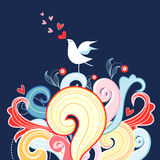 Floral background with love bird. Colorful plants and love bird on a dark blue background Stock Photography