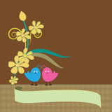 Floral background with love birds  image Royalty Free Stock Photo