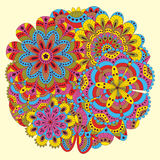 Floral background made of many mandalas. Round shape. Good for weddings, invitation cards, birthdays, etc. Creative hand drawn ele Royalty Free Stock Images