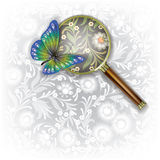 Abstract background with Magnifying glass and Royalty Free Stock Images