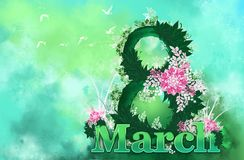 Floral background, March 8, women`s day stock illustration
