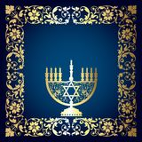 Floral Background with Menorah Stock Images