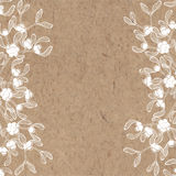 Floral background with mistletoe on kraft paper. Can be greeting Stock Photos