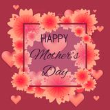 Floral background for mother`s day card design. Bright floral greeting card for happy women`s day, mother`s day, 8 march. Square background with red flowers and stock illustration
