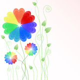 Floral background with multicolored hearts Royalty Free Stock Photos