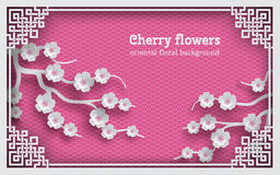 Floral background with oriental frame on pink pattern backdrop and cherry flowers. For greeting card, paper cut out style. Vector illustration, layers are royalty free illustration