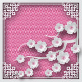 Floral background with oriental frame on pink pattern backdrop and cherry flowers for greeting card. Paper cut out style. Vector illustration, layers are vector illustration