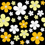 Floral background over black, seamless pattern Royalty Free Stock Images