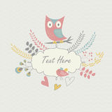 Floral background with owl and bird. Tender floral background with cute owl, bird and flowers and laurels in cartoon style Stock Image