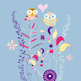 Floral background with owls Royalty Free Stock Photo
