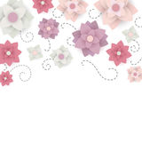 Floral Background with Paper Flowers Royalty Free Stock Images