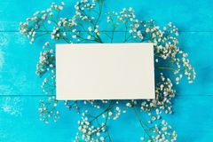Floral background with paper note Royalty Free Stock Photo