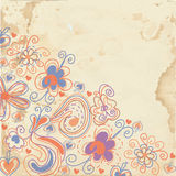 Floral background on the paper texture Stock Images