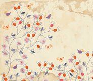Floral background on paper texture with roses Royalty Free Stock Photography