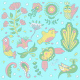 Floral background pattern. beautiful cute birds. Doodle. Royalty Free Stock Photo
