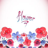 Floral background with pink and blue flowers Royalty Free Stock Photo