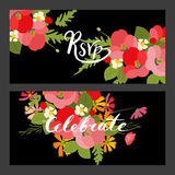 Floral background poppy and cosmos strawberries  illustration Stock Photo