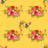 Floral background poppy and cosmos strawberries  illustration Royalty Free Stock Image