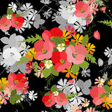 Floral background poppy and cosmos strawberries  illustration Stock Image