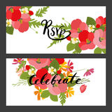 Floral background poppy and cosmos strawberries vector illustration Stock Photos