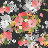 Floral background poppy and cosmos strawberries vector illustration Royalty Free Stock Photo
