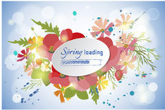 Floral background poppy and cosmos strawberries vector illustration Stock Photo