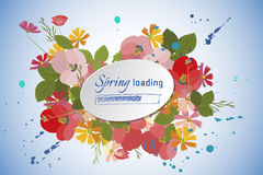 Floral background poppy and cosmos strawberries vector illustration Royalty Free Stock Image