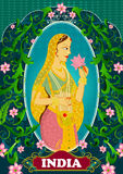Floral background with Queen smelling lotus showing Incredible India. In vector Stock Photos