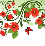 Floral background red Stock Photo