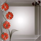 Floral background. Red abstract flowers on the gray background Stock Images