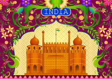 Floral background with Red Fort showing Incredible India. In vector Royalty Free Stock Images