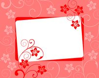 Floral background in red tones with a border. White framework on a flower background Stock Images