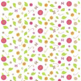 Floral background, red, violet, orange, yellow, pink flowers, butterfly, green leafs, swirls on white Stock Images