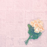 Floral background: roses bouquet isolated over vintage paper. Copy space Royalty Free Stock Photo