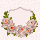 Floral background with roses and frame. Stock Image