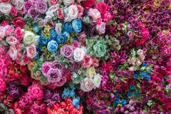 Floral background, roses with other flowers royalty free stock photo