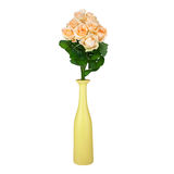 Floral background: roses in vase isolated on white background Stock Photo