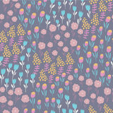 Floral background. Seamless background with cute tender flowers in cartoon style Stock Photography