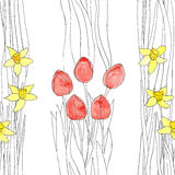 Floral background. EPS,JPG. Seamless background with narcissus (daffodils) and tulips in vintage style. EPS,JPG Royalty Free Stock Photo