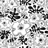 Floral background. Seamless pattern with bee and flower in doodl. E sketchy style. Cute vector illustration for spring and summer backdrops, surfaces, design Stock Illustration