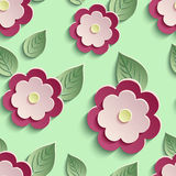Floral background seamless pattern with 3d flowers. Beautiful trendy nature background seamless pattern with red - pink summer 3d flower and leaves. Floral Stock Image
