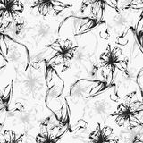 Floral background, seamless pattern with flowers lilies. Royalty Free Stock Photos