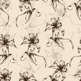 Floral background, seamless pattern with flowers lilies. For wallpaper design, wrapper, fabric design, print, decoration. Vector illustration Stock Photography