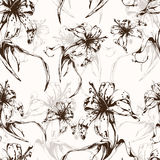 Floral background, seamless pattern with flowers lilies. For wallpaper design, wrapper, fabric design, print, decoration. Vector illustration Royalty Free Stock Photo