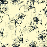 Floral background, seamless pattern with flowers lilies. For wallpaper design, wrapper, fabric design, print, decoration. Vector illustration Royalty Free Stock Photography