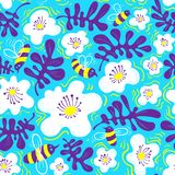 Floral Background. Seamless Pattern With Bee And Flower In Doodle Sketchy Style. Cute Vector Illustration Stock Photography