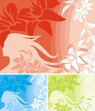Floral Background Series. Vector background with floral ornaments and a woman silhouette stock illustration
