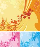 Floral Background Series. Vector background with floral ornaments and a woman silhouette vector illustration