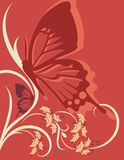 Floral Background Series. Vector background with floral ornaments and a butterfly silhouette vector illustration
